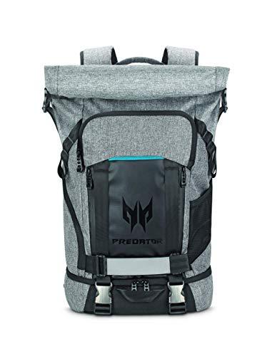 Acer Predator Rolltop Gaming-Rucksack (wasserdicht, 35,5 Liter Fassungsvermögen, kompatibel mit allen 15 Zoll und 17 Zoll Geräten) grau