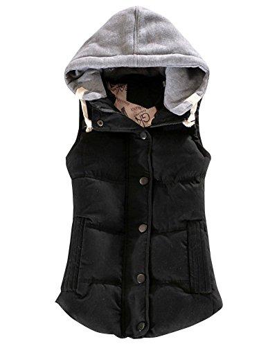 Mujer Chaleco con Capucha Sin Mangas Cazadoras De Invierno Abrigos Calentar Negro XL