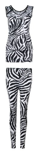 Fast Fashion Damen Tier Zebra Drucken Armelloses Top Und Leggings Anzug (SM = 36/38, Zebra Anzug)