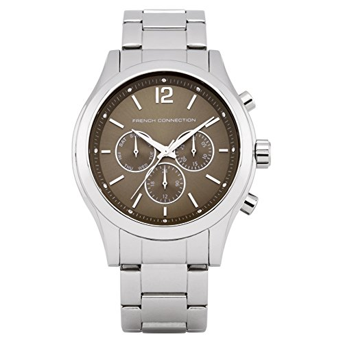 French Connection Unisex Quartz Watch with Brown Dial Chronograph Display and Silver Stainless Steel Bracelet FC1144TM