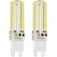 Rayhoo - Lampadine sostitutive a 104 LED con base G9, con bulbo trasparente, set da 2 pezzi, 5 W, tensione 220 V CA, luminosità non regolabile, luce di colore bianco caldo, equivalenti a lampadine alogene T3 da 40 W, per lampade in ceramica e faretti su binario