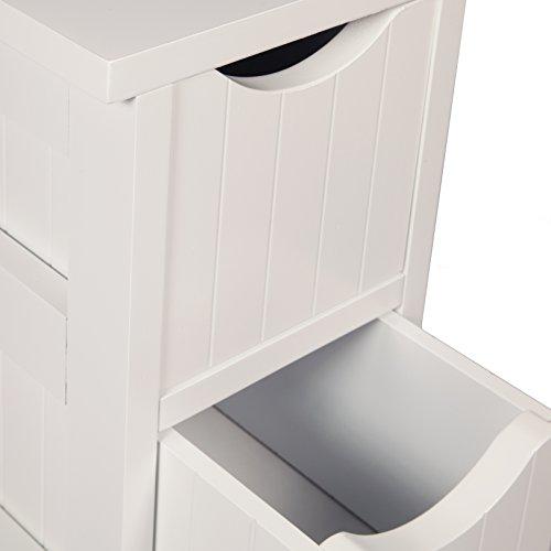 Woodluv Slimline MDF 4-Drawer Bathroom Storage Unit ... & Woodluv Slimline MDF 4-Drawer Bathroom Storage Unit 19 x 25 x 65.5 ...
