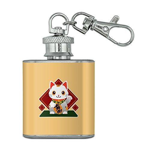 Cute Lucky Cat maneki-neko Unzen Edelstahl Mini Fläschchen Schlüssel Kette