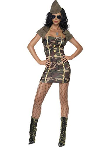 General Kostüm Militär - Fancy Ole - Damen Frauen Frauen Armee Militär Stabschefin Generalin Armee Army Girl Kostüm mit Kleid, Mütze und Shrug, perfekt für Karneval, Fasching und Fastnacht, XS, Grün