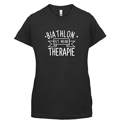 Biathlon ist meine Therapie - Damen T-Shirt - 14 Farben Schwarz