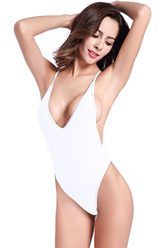 SHEKINI Damen Einteiliger Badeanzug Push up String Tanga Bikini Schwimmanzug Monokini (Medium, Weiß)