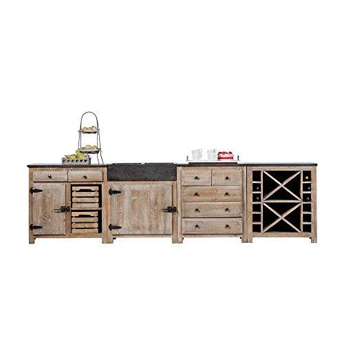 Pharao24 Küchenblock aus Kiefer Recyclingholz Rustikal