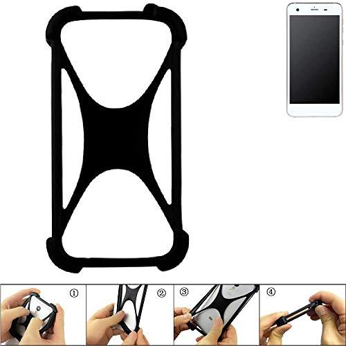 K-S-Trade Handyhülle für Vestel V3 5570 Schutz Hülle Silikon Bumper Cover Case Silikoncase TPU Softcase Schutzhülle Smartphone Stoßschutz, schwarz (1x)