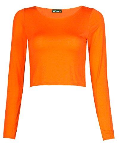 Fast Fashion Damen Kurz Top Plain Langen Ärmeln Viskose Jersey Orange