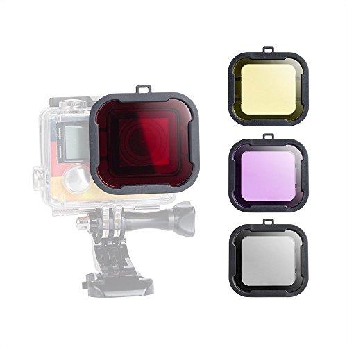 Williamcr Tauchobjektivfilter für GoPro Hero 43+, Farbkorrektur, Kompensationsfilter für Unterwasservideo, Fotografie und Filmen für Hero 43+, Sportkamera–4 Stück – Rot, Gelb, Violett Grau