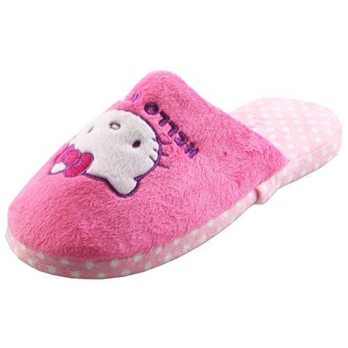 Tierhausschuhe Plüsch Hausschuhe Hello Kitty Katze Pink Rosa Plüsch Pantoffel Schlappen Kinder Mädchen Orig., TH-HelloKitty pink hellrosa
