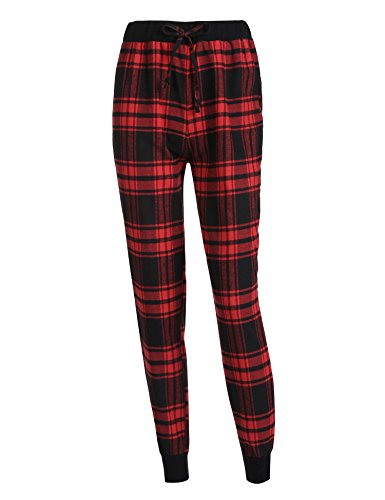 Damen Schlafanzughose Kariert gedruckt Hose Lang Pyjamahose Schlafhose Pants Sleep Baumwolle (Damen Rote Sleep-pant)