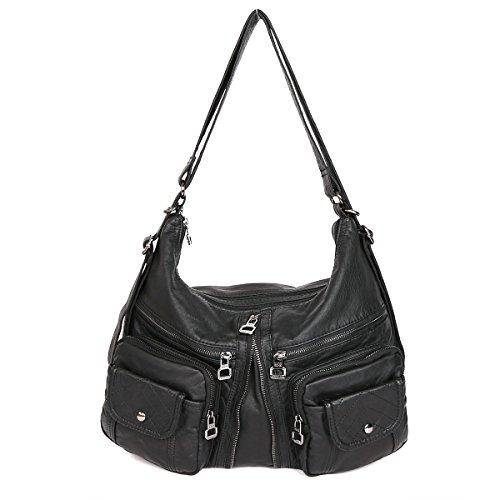 21KBARCELONA  Top con zip multi tasche Borse Lavato Borse borse in pelle zaino tracolla XS160989 Nero