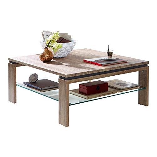 Stella trading glasboden tavolino basso, legno, marrone, 90 x 90 x 40 cm