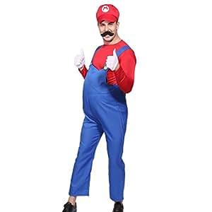 Costume Plombier frere bros bleu Rouge super Déguisement Homme 80s plombier Taille XL (50-52)