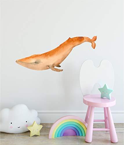 Orange Whale Wall Decal Aquarell Meer Ozean Wall Art Peel und Stick Wandaufkleber abnehmbare Stoff Vinyl Baby M?dchen Kinderzimmer Dekor