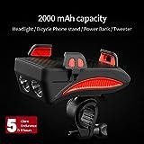 QWERDF Set di 4 luci Frontali per Bici Ricaricabili USB, Supporto per Telefono Mobile Antiurto con Power Bank, Corno da Ciclismo LED Lampada Super Brillante,Orange