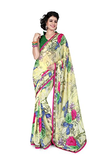 Sharda Sarees Georgette Saree (Pink-Off White) with Blouse Piece