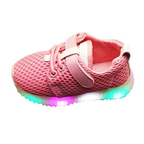e LED Schuhe,Juleya USB Aufladbare Leuchtschuhe Kinderschuhe für Halloween Weihnachten Dank Giving Day Rosa/26 (Halloween Hausschuhe)