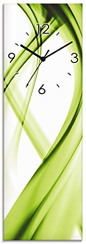 Artland Wanduhr ohne Tickgeräusche Glasuhr mit Motiv Design Funkuhr lautlos Größe: 20x60 cm Abstrakte Komposition Grün S8WH