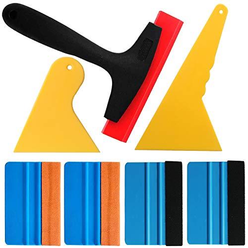 Gebildet 7 in 1 High-End-Werkzeugset für Autofolie/Tönungsfolie/Sonnenschutzfolie Installation mit Faserrand Rakel, Wildlederrakel,Gummi Rakel, Hard PP rakel.