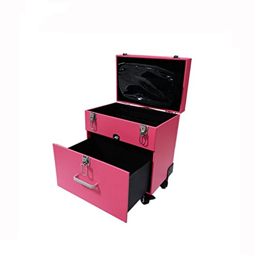 Wagenregal Make-up-Toolbox - Trolley-Koffer mit Make-up Make-up-Koffer Schönheitssalon große Kapazität leichte Aufbewahrungsbox (Farbe : Pink, größe : 35 * 25 * 35cm) -