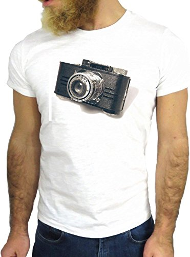 T SHIRT JODE Z2793 VINTAGE CAMERA ANDY COOL 70'S PHOTOGRAPHER ADVERTISING GGG24 BIANCA - WHITE