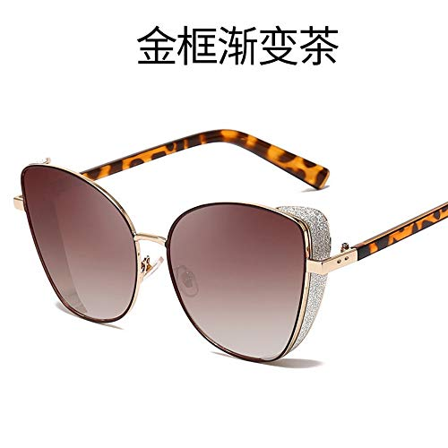 MJDABAOFA Sonnenbrillen Frauen Männer Sonnenbrille Gold Frame Gradient Kaffee Vintage Metall Katze Augen Damen Sonnenbrillen Sport Fahren Für Dame Frau Und Männer Sonnenbrille
