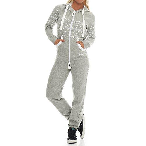Finchgirl 91W5 Azteken Muster Damen Jumpsuit Overall Jogging Hellgrau M