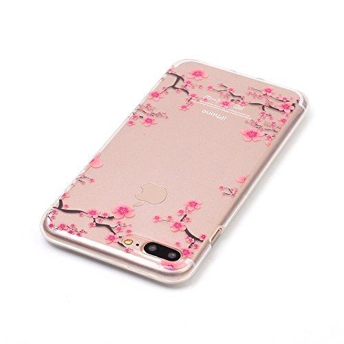 iPhone 7 Plus Coque,iPhone 7 Plus Cover,iPhone 7 Plus Silicone Case - Felfy Ultra Light Mince Slim Gel Souple Soft Flexible TPU Cas Color Motif Couvrir Protector Housse Anti Scratch Couverture de Prot Prune Fleur