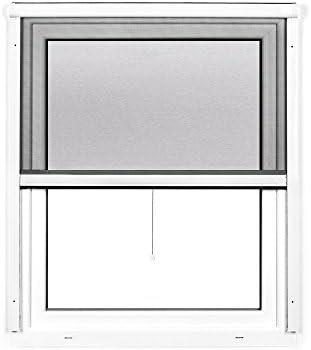 JAROLIFT 2 en 1 Mosquitera enrollable Volaris, mosquitera para ventanas con marco de PVC en color blanco, malla color negro