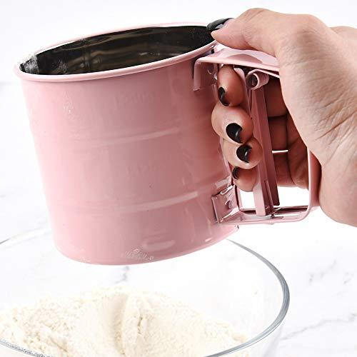 M-PENG Mehl - Puderzucker - Sichter Edelstahl Halbautomatisch Handgehaltenes Mehlsiebpulver Handgesiebtes Zuckersieb - Backwerkzeug