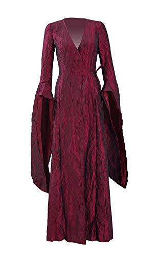 Qian Qian Damen Melisandre Kostüm Halloween Cosplay Party Langes Kleid Umhang (S, Rot Kleid)
