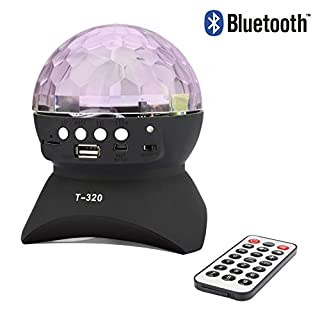 ALED LIGHT Portable Bluetooth Speaker With Built-In Light Show,Stage & Studio Special Effects Lighting, RGB Color Changing, LED Crystal Ball Auto Rotating, with Music Player for TF Card
