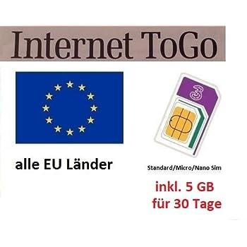 Alle Eu Länder Karte.Prepaid Daten Sim Karte Mobiles Internet Für Die Ganze Eu Mit 5 Gb Für 30 Tage Italien Spanien Frankreich österreich Schweden Griechenland