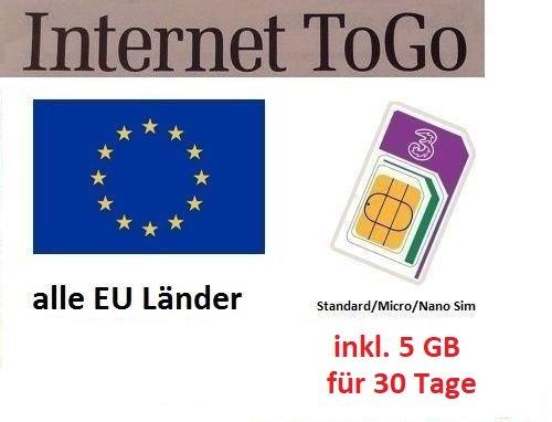 Prepaid Daten SIM Karte (mobiles Internet) für die ganze EU mit 5 GB für 30 Tage (Italien, Spanien, Frankreich, Österreich, Schweden, Griechenland, Kroatien,…)