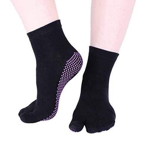 """Hoopomania® chaussettes de yoga """"One Toe"""" antidérapantes avec picots en caoutchouc, noir M (39-41)"""