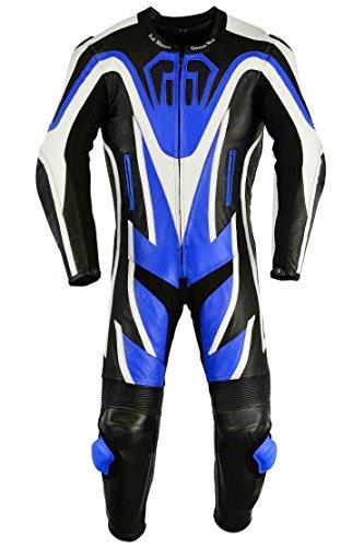 *Einteiler Motorradkombi Motorrad Lederkombi aus Rindsleder echtleder Kombi Blau, Größe:52*