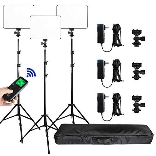 (3 Packs) VILTROX VL-200T Dimmbares zweifarbiges Fotostudio Beleuchtungs kit beinhaltet: 3300K-5600K LED Videolicht mit 75 Zoll Lichtstativ für Studio Aufnahmen