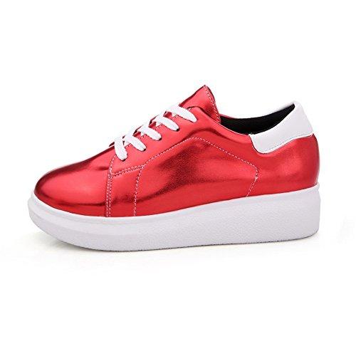 AllhqFashion Femme Lacet Rond à Talon Bas Pu Cuir Couleur Unie Chaussures Légeres Rouge