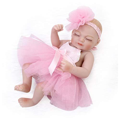 Nicery Reborn Baby Doll Réincarné bébé Poupée Doux Simulation Silicone Vinyle 10 Pouces 26cm Qui Semble Vivant Imperméable Jouet Vif réaliste Âge 3+ Rose Fille Yeux Fermer