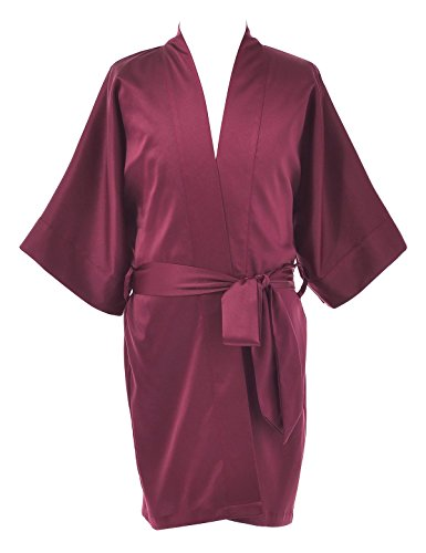 Remedios Kids Kimono Robe Sleepwear Bathrobe Wedding Party Girls Dressing Gown, Burgundy, L