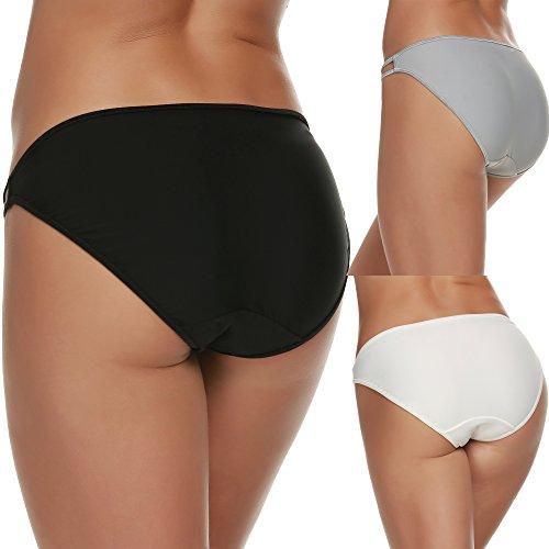 Ekouaer Damen Panties Sexy Spitze Slips Hipster 3er Pack Unterwäsche Unterhosen 3 Verschiedene Farben Schwarz / Weiß / Grau (3er Pack)