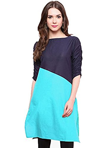 Kurti (Vipul Women's Branded Blue & Black Casual Wear Cotton Best Gift For Mummy Mom Wife Girl Friend, Offers and Sale Discount)  available at amazon for Rs.177