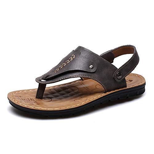 Tianre Herren Casual Flip-Flop Echtes Leder Riemen Komfortable Sommer Strand Sandalen Outdoor Sports Wandern Wandern Hausschuhe Schuhe (Color : Black, Größe : 41 EU/7.5 UK/8.5 US) (Männer Riemen-sandalen)