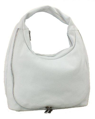 5141 Eastline TREND Leder Handtasche Schultertasche Beutel schwarz, blau oder weiss Maße ca. 38x32cm Weiß