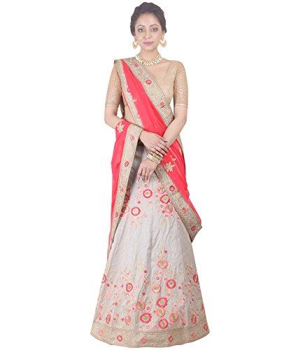 Indian Ethnicwear Bollywood Pakistani Wedding Grey A-Line Lehenga Semi-stitched-DIVISL030