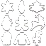 KENIAO Weihnachten Ausstechformen Set - 9 Stück - Weihnachtsbaum, Lebkuchenmann, Zuckerstange, Rentier, Glühlampe, Schneemann, Schneeflocke, Pullover und Fäustling Ausstecher - Edelstahl