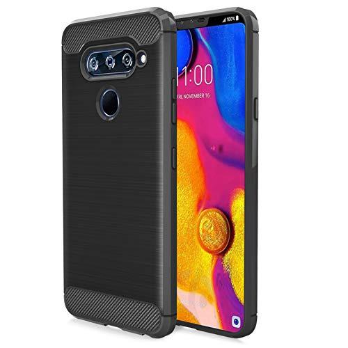Schutzhülle für LG V40 / LG V40 ThinQ (Verizon Wireless, AT&T) Karbonfaser, weiche TPU, gebürstete Textur, elastisch, Gummi, strapazierfähig, schwarz (At Und T Wireless)