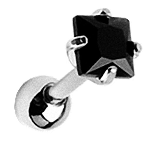 Piersando Tragus Helix Ohr Piercing Cartilage Knorpel Stab Stecker 316 L Chirurgenstahl mit Quadrat Zirkonia Solitär Kristall 4mm Schwarz